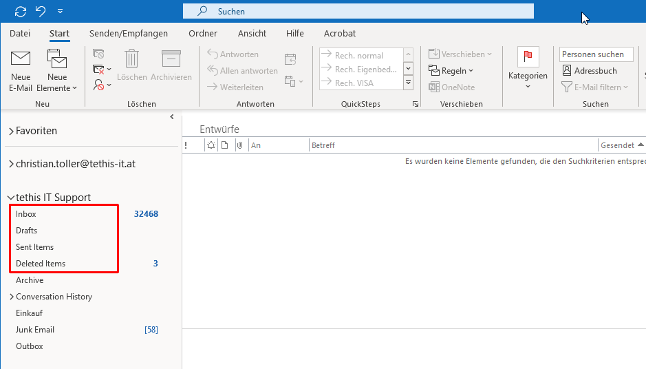 Office 365 bzw. Exchange Online: Inbox statt Posteingang