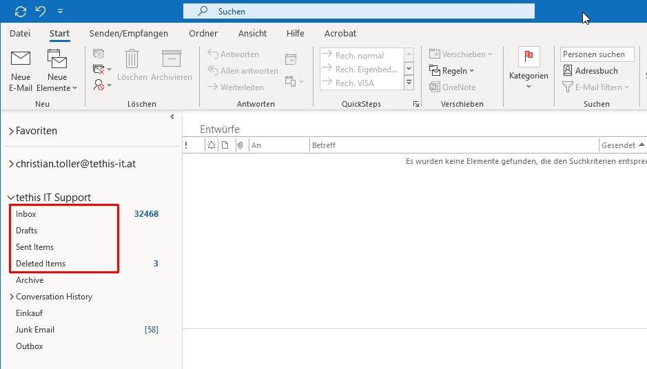 Office 365 bzw. Exchange Online: Inbox statt Posteingang