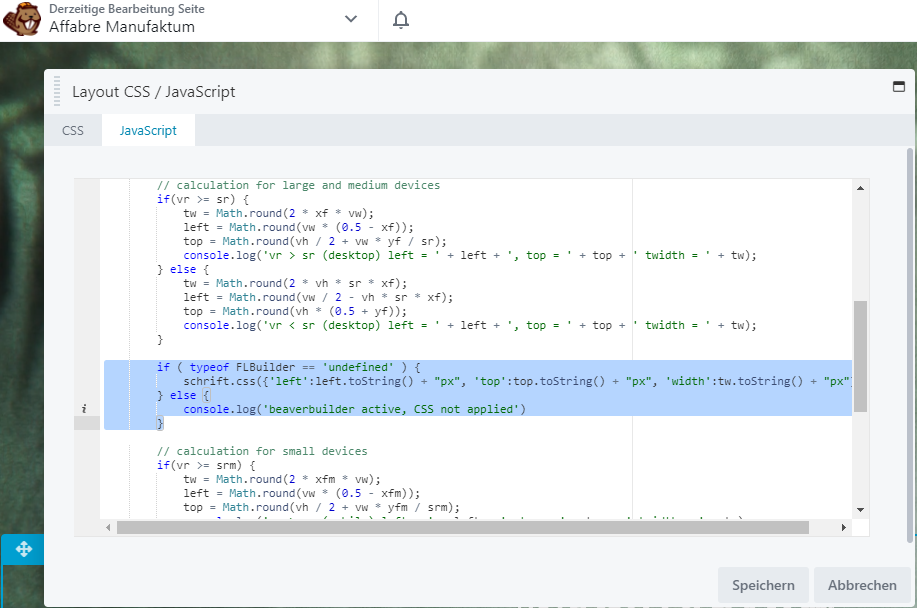 Beaver Builder: Javascript im Editor nicht ausführen